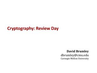 Cryptography: Review Day