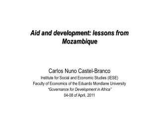 Aid and development :  lessons from  Mozambique