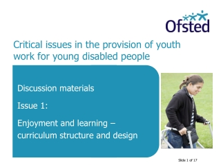 Critical issues in the provision of youth work for young disabled people