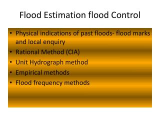 Flood Estimation flood Control