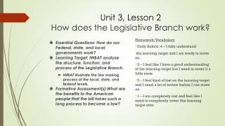 Unit 3, Lesson 2 How does the Legislative Branch work?