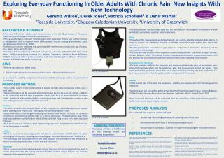 Exploring Everyday Functioning In Older Adults With Chronic Pain: New Insights With New Technology