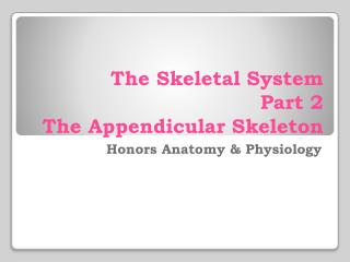 The Skeletal System Part 2 The  Appendicular  Skeleton