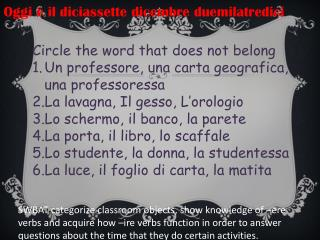 Circle the word that does not belong Un  professore ,  una carta geografica ,  una professoressa