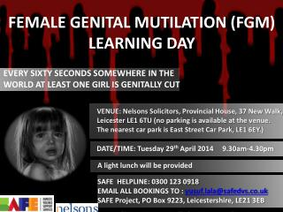 FEMALE GENITAL MUTILATION (FGM) LEARNING DAY