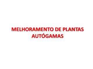 MELHORAMENTO DE PLANTAS AUTÓGAMAS