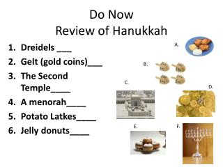 Do Now Review  of Hanukkah