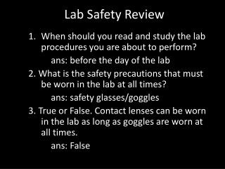 Lab Safety Review