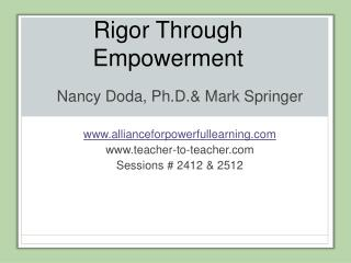 Rigor Through Empowerment