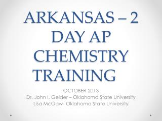 ARKANSAS – 2 DAY AP CHEMISTRY TRAINING