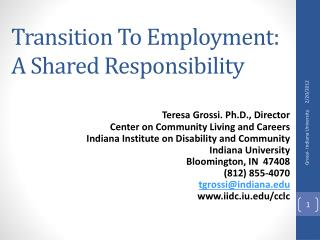 Transition To Employment: A Shared Responsibility