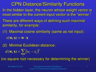 CPN Distance/Similarity  Functions