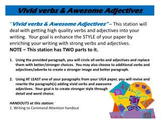 Vivid verbs & Awesome Adjectives