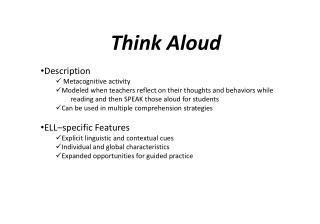 Think Aloud Description Metacognitive activity