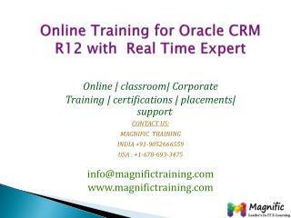 Online Training for Oracle CRM R12 with  Real Time Expert