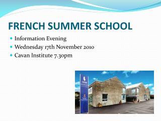 FRENCH SUMMER SCHOOL