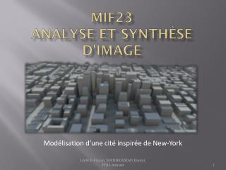 MIF23 Analyse et synthèse d'image