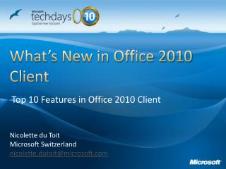 What's New in Office 2010 Client