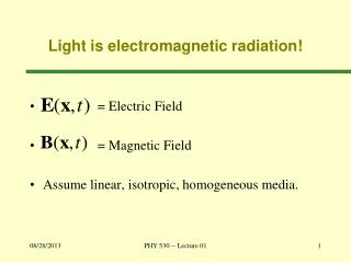 Light is electromagnetic radiation!