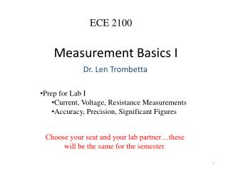 Measurement Basics  I