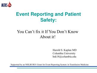 Event Reporting and Patient Safety:
