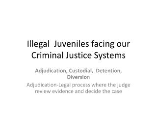 Illegal  Juveniles facing our Criminal Justice Systems