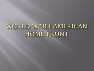 World War I American Home Front