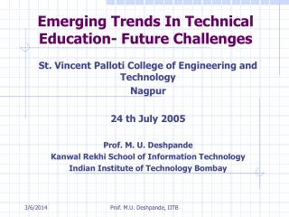 Emerging Trends In Technical Education- Future Challenges