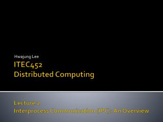 ITEC452 Distributed Computing Lecture  2 Interprocess  Communication (IPC): An Overview