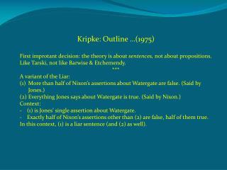 Kripke: Outline …(1975)