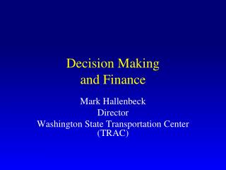Decision  Making and Finance