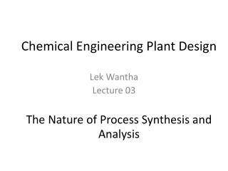 Chemical Engineering Plant Design