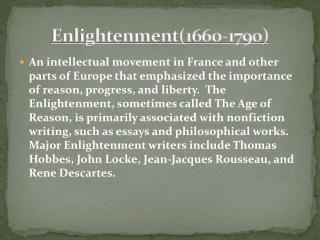 Enlightenment(1660-1790)