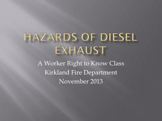 Hazards of Diesel Exhaust