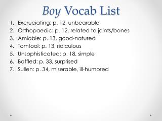 Boy Vocab List