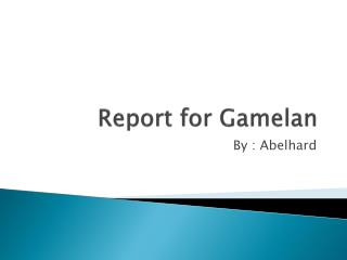 Report for Gamelan