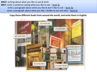 Copy these different foods from around the world, and write them in English.