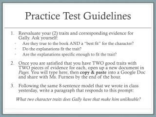 Practice Test Guidelines