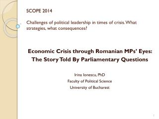 Economic Crisis through Romanian MPs' Eyes:  The Story Told By Parliamentary Questions