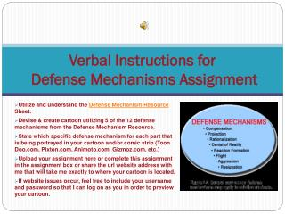 Verbal Instructions for  Defense Mechanisms Assignment
