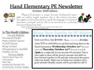 Hand Elementary PE Newsletter