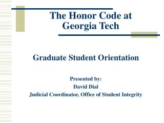 The Honor Code at  Georgia Tech
