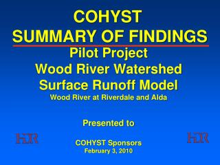 COHYST  SUMMARY OF FINDINGS