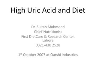 High Uric Acid and Diet
