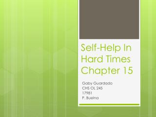 Self-Help In Hard Times Chapter 15