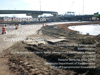 Site Inspections on Linear Projects: Quality Control & Corrective Actions