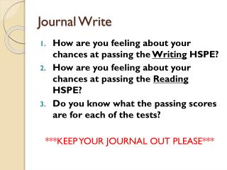 Journal Write