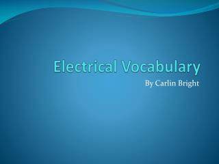 Electrical Vocabulary
