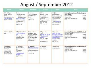 August / September 2012