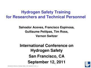 Hydrogen Safety Training  for Researchers and Technical Personnel